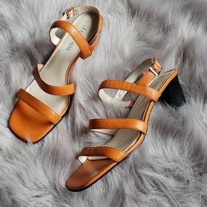 J. G. Hook orange square toe strappy sandals
